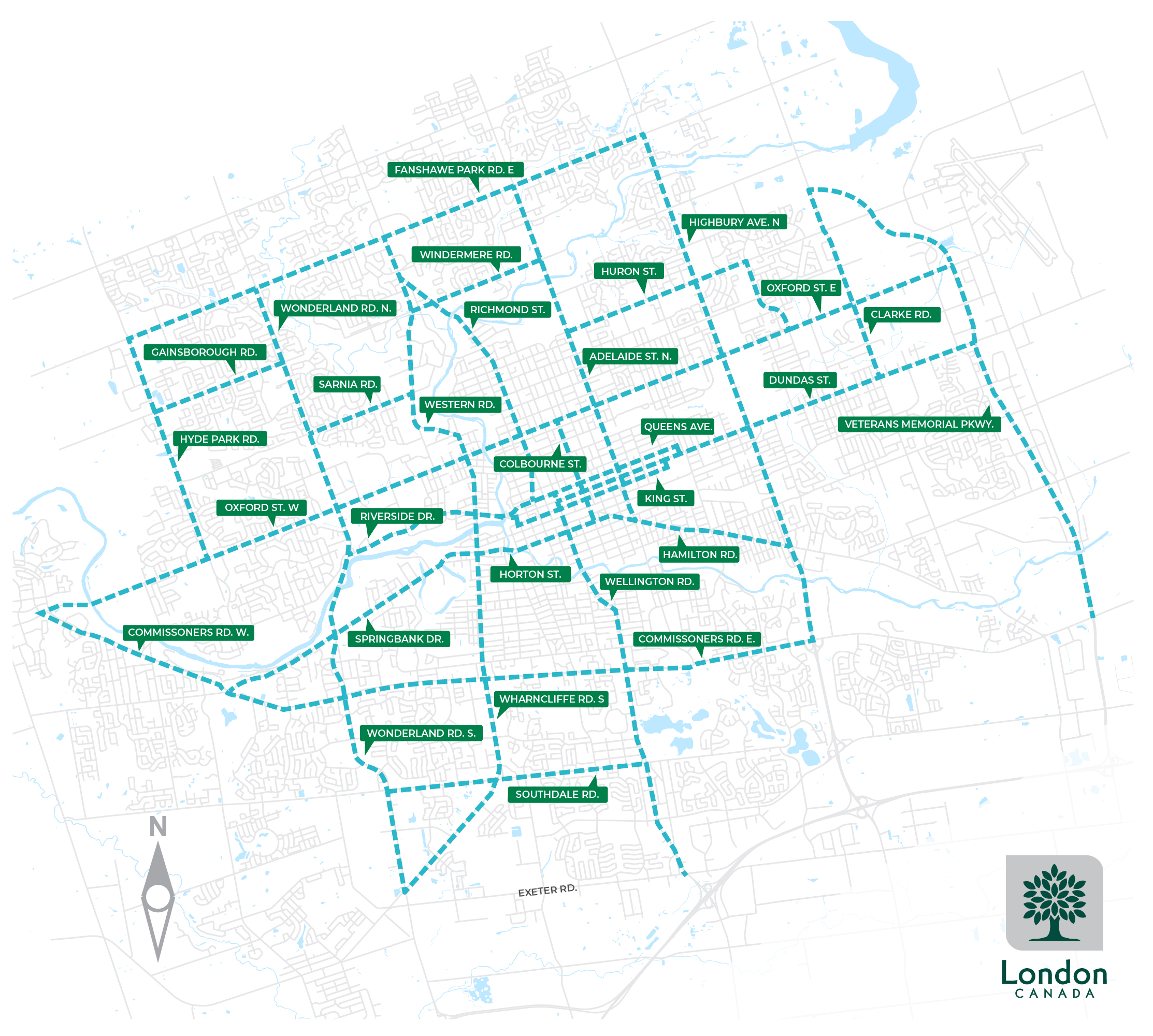 A map of intelligent traffic signal corridors in London. For more information, please contact the Traffic management centre at tmc@london.ca