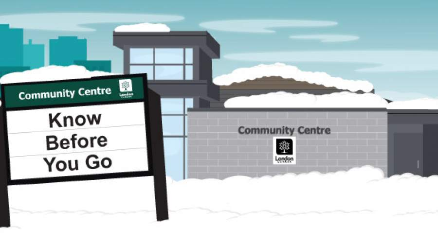 Community centre with sign saying Know Before you Go.