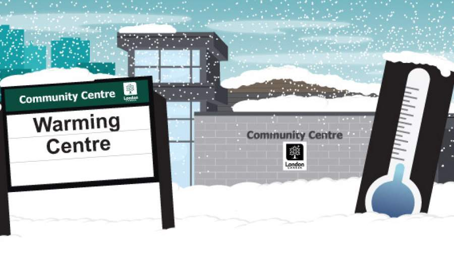 Sign in front of a community centre that says Warming Centre.